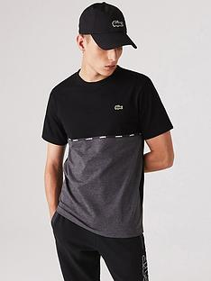 lacoste-cut-ampnbspsew-marl-detail-t-shirt-blackgrey