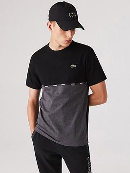 lacoste-cut-ampnbspsew-marl-detail-t-shirt-blackgrey