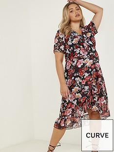 quiz-curve-floral-chiffon-midi-dress-blackred