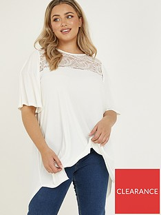 quiz-curve-lace-panel-hanky-hem-top-cream