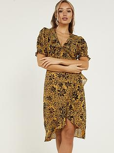 quiz-woven-floral-frill-wrap-dress-mustard