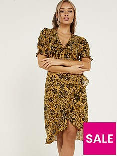quiz-woven-floral-frill-wrap-dress-mustard