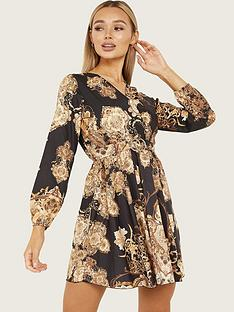 quiz-v-neck-paisley-print-dress-with-buckle-belt-black