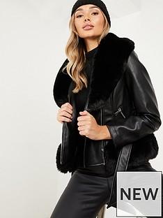 quiz-pu-faux-fur-trimnbspbiker-jacket-black