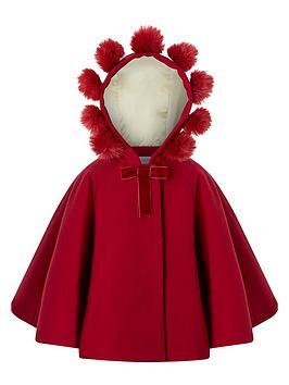 monsoon-baby-girls-pollynbsppompom-cape-red
