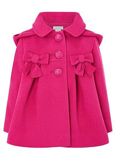 monsoon-baby-girls-bow-coat-with-hood-pink