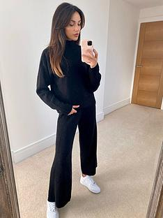 michelle-keegan-high-neck-pocket-jumper-co-ord-black