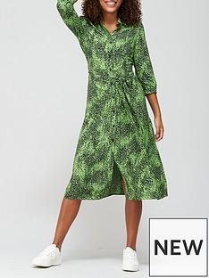 v-by-very-three-quarter-sleeve-shirt-dress-green-print