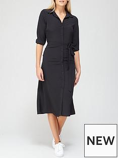 v-by-very-three-quarternbspsleeve-shirt-dress-black