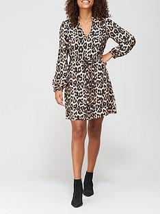 v-by-very-v-neck-drawstring-mini-dress-leopard