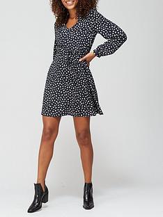 v-by-very-v-neck-drawstring-mini-dress-black-print