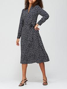 v-by-very-notch-neck-tie-midi-dress-black-print