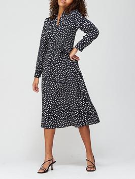 v-by-very-notch-neck-tie-midi-dress-black-print