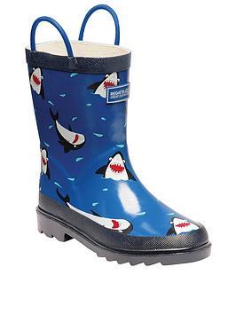regatta-minnow-shark-print-junior-welly-blue