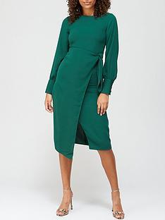 v-by-very-tie-waist-midi-dress-teal