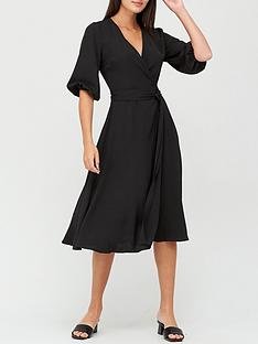 v-by-very-three-quarter-sleeve-wrap-dress-black