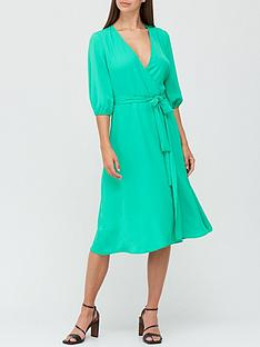 v-by-very-long-sleeve-wrap-dress-green