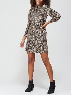 v-by-very-high-neck-belted-mini-dress-leopard