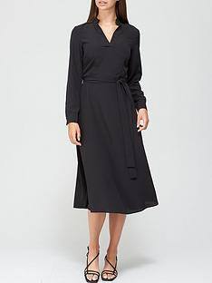 v-by-very-notch-neck-tie-midi-dress-black