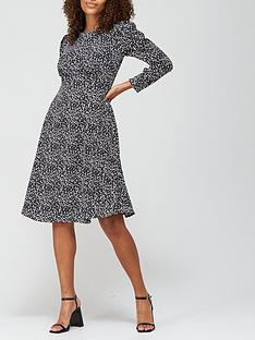 v-by-very-round-neck-puff-sleeve-midi-dress-monochrome-animal