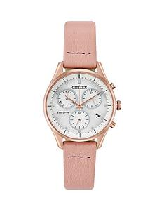 citizen-citizen-eco-drive-white-and-rose-gold-detail-chronograph-dial-pink-leather-strap-ladies-watch