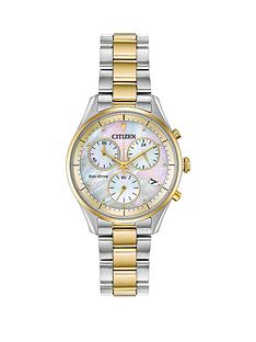 citizen-citizen-eco-drive-mother-of-pearl-and-gold-detail-chronogrpah-dial-two-tone-stainless-steel-bracelet-ladies-watch