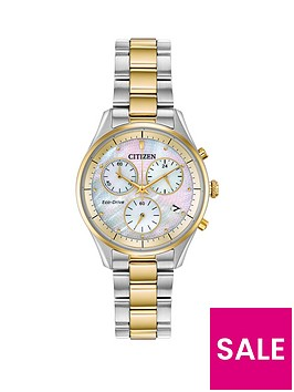 citizen-eco-drive-mother-of-pearl-and-gold-detail-chronograph-dial-two-tone-stainless-steel-bracelet-ladies-watch