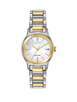 citizen-eco-drive-mother-of-pearl-and-gold-detail-diamond-set-dial-two-tone-stainless-steel-bracelet-ladies-watch