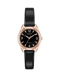 citizen-citizen-eco-drive-black-and-rose-gold-detail-dial-black-patent-leather-strap-ladies-watch