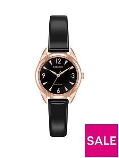 citizen-citizen-eco-drive-black-and-rose-gold-detail-dial-black-patent-leather-strap-ladies-watch