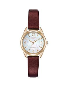 citizen-citizen-eco-drive-mother-of-pearl-and-gold-detail-dial-dark-red-metallic-leather-strap-ladies-watch