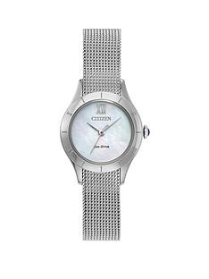 citizen-citizen-eco-drive-mother-of-pearl-dial-stainless-steel-mesh-strap-ladies-watch