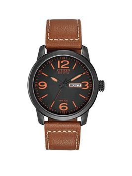 citizen-citizen-eco-drive-black-and-orange-detail-daydate-dial-brown-leather-strap-mens-watch