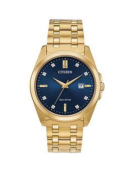 citizen-citizen-eco-drive-blue-diamond-set-date-dial-gold-stainless-steel-bracelet-mens-watch