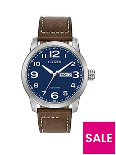 citizen-citizen-blue-daydate-dial-brown-leather-strap-mens-watch