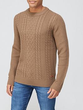 jack-jones-textured-crew-neck-jumper-brown