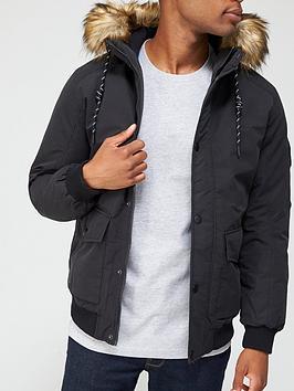Jack & Jones Parka Jacket With Faux Fur Hood - Black , Black, Size 2Xl, Men