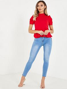 quiz-peplum-puff-sleeve-top-red