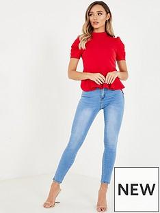 quiz-peplum-puff-sleeve-top-red