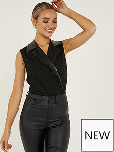 quiz-wrap-pu-lapel-tuxedo-bodysuit-black