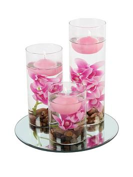 set of 3 floating candles with vases and pink flowers
