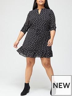 v-by-very-curve-flippy-tie-waist-tea-dress-spot-print