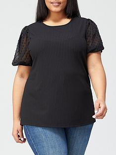 v-by-very-curve-mesh-puff-sleeve-top-black