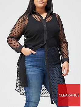 v-by-very-curve-spot-mesh-longline-blouse-black