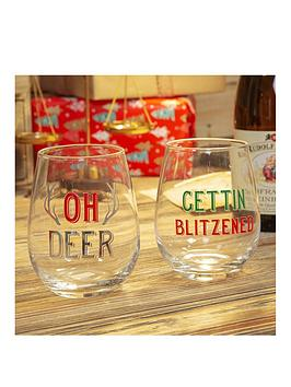 Product photograph showing Set Of 2 Oh Deer And Getting Blitzened Christmas Tumblers