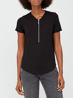 v-by-very-zip-front-short-sleeve-top