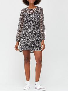 v-by-very-mesh-curve-seam-mini-dress-floral-print