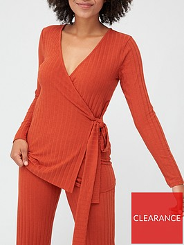 v-by-very-ribbed-long-sleeve-wrap-top-rust