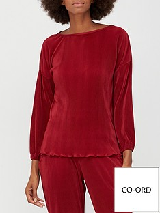 v-by-very-plisse-long-sleeve-co-ord-top-wine