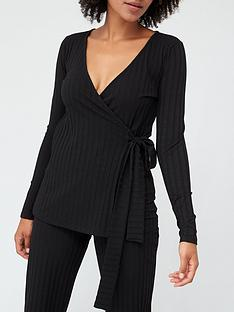 v-by-very-ribbed-long-sleeve-wrap-top-black